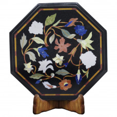Antique Black Marble Inlay Bed Side Table