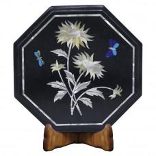 Black Marble Floral Design Side Table For Home Decor