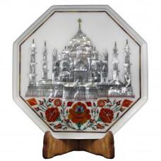 White Marble Inlay Bedside Table Tajmahal Pietra Dura