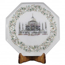 Octagonal White Marble Tajmahal Bedside Table Inlaid Mother of Pearl