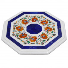 Octagonal White Marble Side Table Top Inlaid Carnelian Gemstone