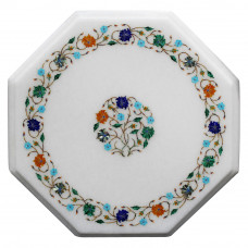 Octagonal White Marble Inlay Bedside Table Top Inlaid Multi Color Gemstones