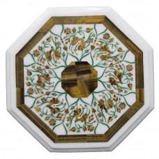Octagonal White Marble Inlay Tiger Eye Gemstone Side Table Top Pietra Dura