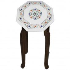 Vintage White Marble End Table Top Inlaid Lapis Lazuli Gemstone