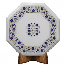 Unique Design White Marble Inlay End Table Top Scagliola Art