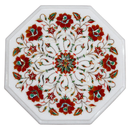 """12"""" Side Table With Wooden Stand, Floral Pietra Dura Antique Art Work, Handmade Craft, For Home, A Unique Table Top To Decor Home & Office"""