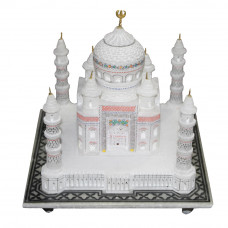 "7"" Inch Hand Carved White Marble Taj Mahal Showpiece Gift"