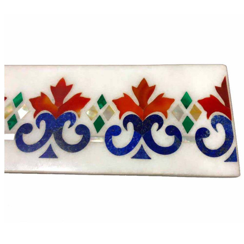 White Marble Kitchen Floor Tile Inlaid Carnelian Stone