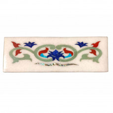 White Marble Floor Tile Inlaid Pietra Dura Art