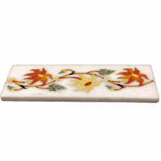 Beautiful Flower Mosaic Art Inlay White Marble Floor Tile