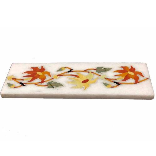 Beautiful Flower Mosaic Art Inlay White Marble Floor Tile