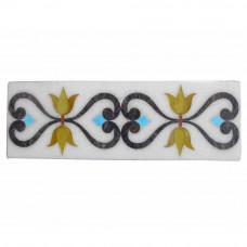 Turquoise Gemstone Inlaid White Marble Wall Tiles