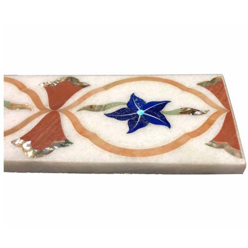 Rectangle White Marble Wall Tiles Inlaid Lapislazuli Stone