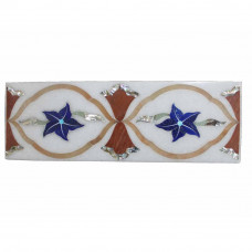 Rectangle White Marble Wall Tiles Inlaid Lapislazuli Stone