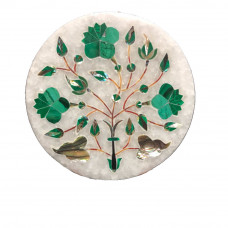 Round Home Decorative White Marble Inlay Tile Inlaid Malachite Gemstone