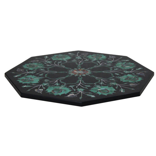"""12"""" x 12"""" Inch Black Marble Tile For Italian Side Table"""