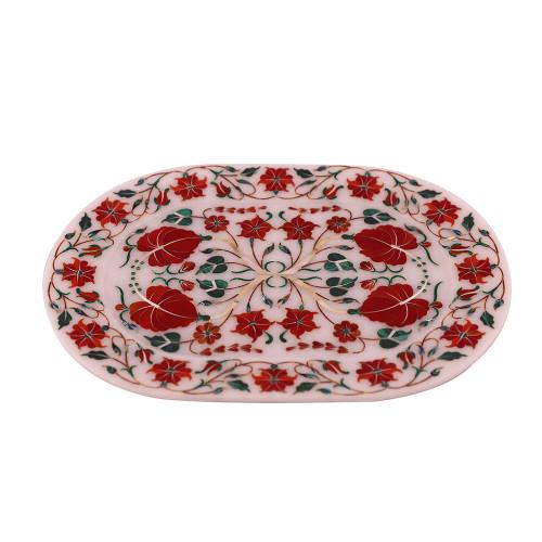 Wall Decorative Oval White Marble Inlay Tray Pietra Dura Art