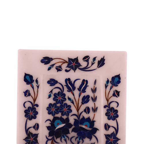 Rectangular White Marble Decorative Tray Inlaid Lapislazuli Gemstone