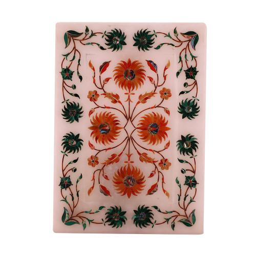 Rectangular Marble Inlay Decorative Tray Inlaid Carnelian Gemstone