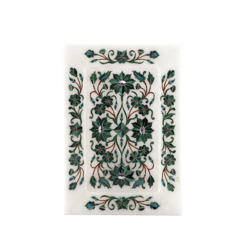 Rectangular White Marble Inlay Decorative Tray For Home Decor