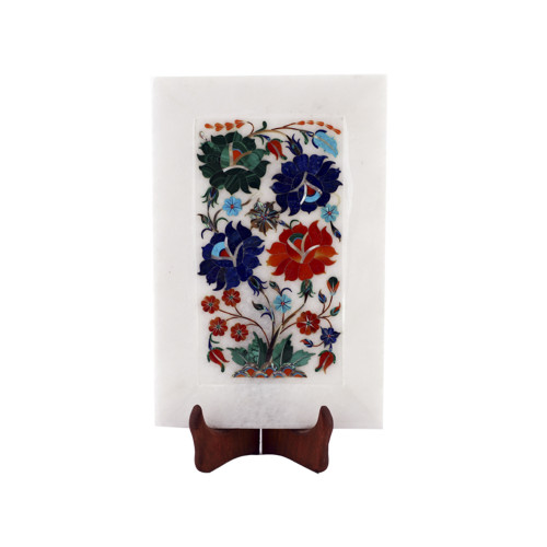 White Marble Inlay Decorative Serving Trays Floral Design