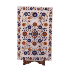 Handmade Rectangular White Marble Inlay Wall Decorative Tray