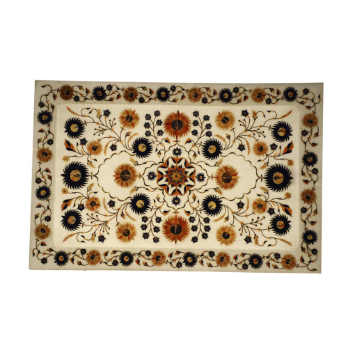 Handmade Rectangular White Marble Inlay Wall Decorative Tray