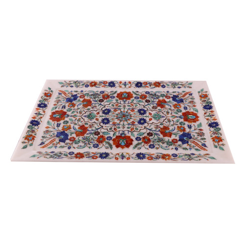 Handmade Intricate Work Stone Inlay Wall Decorative Serving Tray
