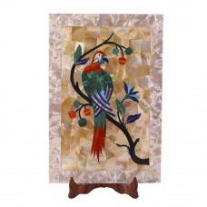 Handmade White Marble Serving Tray Inlay Bird Mosaic Art