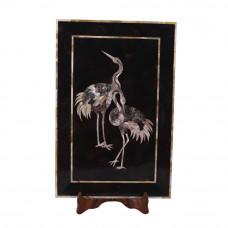 Rectangular Black Marble Wall Decorative Tray Inlay Bird Mosaic Art