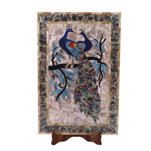 Rectangular Marble Inlay Decorative Tray Pietra Dura Work Art