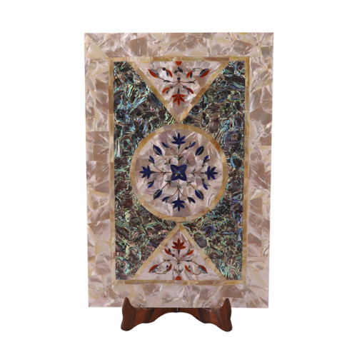 Antique White Marble Inlay Decorative Tray Mosaic Work Art