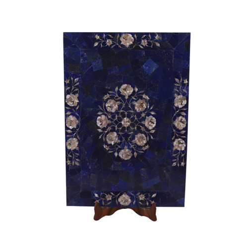 Wall Decorative Rectangular Marble Tray Inlaid Lapislazuli Stone
