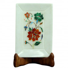 Beauiful Flower Inlaid White Marble Decorative Tray