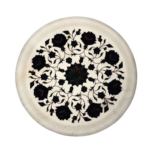 White Marble Wall Plate Inlaid With Lapislazuli Gemstone