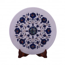 White Marble Wall Plate Inlaid With Lapislazuli Gemstone