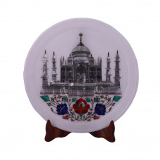 Taj Mahal Inlay White Marble Plate For Home Decor