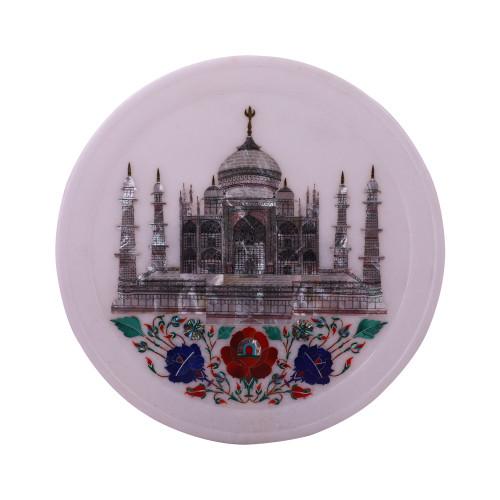 Taj Mahal Inlay White Marble Plate For Home Decor