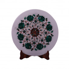 Home Decor White Marble Wall Plate Inlaid With Malachite Gemstone