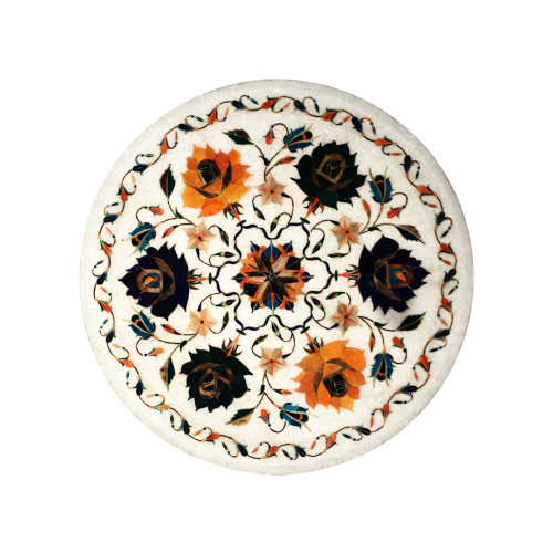 Home Decor White Marble Wall Plate Inlaid With Semiprecious Gemstone