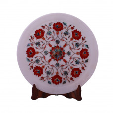 Decorative White Marble Plate Inlaid With Carnelian Gemstone