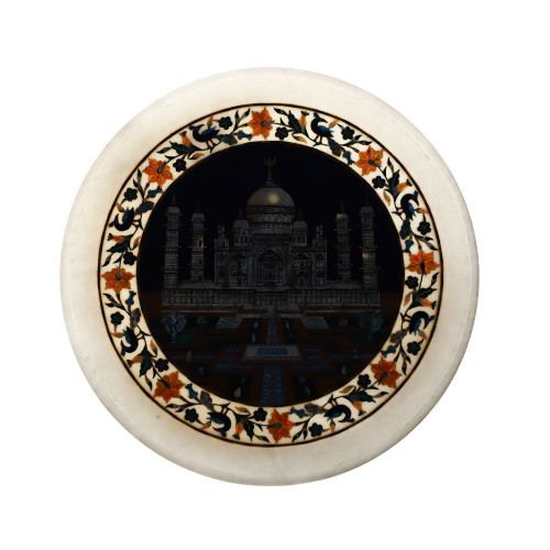 Taj Mahal Inlaid White Marble Decorative Plate