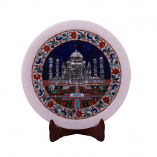 Taj Mahal Inlaid White Marble Decorative Plate
