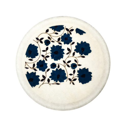Home Decor White Marble Plate Inlaid With Turquoise Gemstone