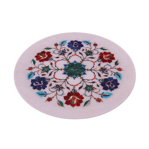 Flower Decorative White Marble Wall Plates Inlaid With Semiprecious Stones