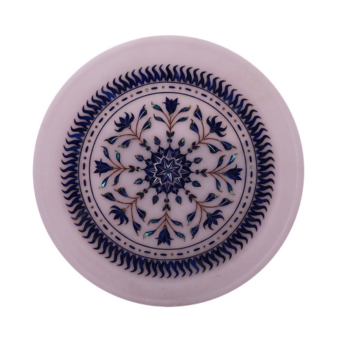 Decorative White Marble Plate Inlaid With Lapislazuli Gemstone