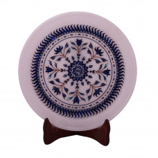 Decorative White Marble Plate Inlaid With Lapislazuli Gemstone