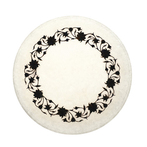 White Marble Plate Inlaid With Paua Shell Gemstone