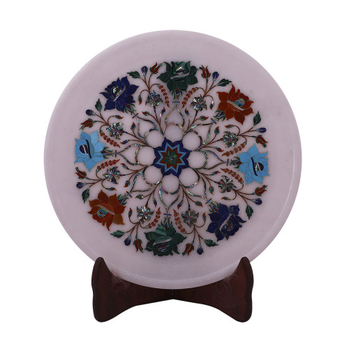 Home Decorative Marble Inlay Plate Inlaid With Semiprecious Stones