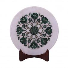 Home Decorative White Marble Inlay Plate Inlaid With Malachite Gemstone